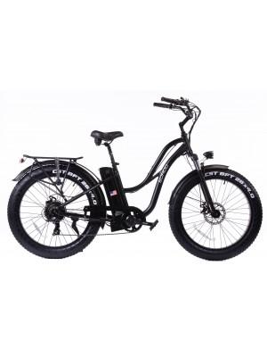 "48V750W16Ah 26""x4.0 Fat Tire Beach Cruiser Electric Bicycle Step-Through- Black"