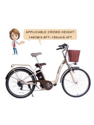 "SOHOO 36V350W10AH 26"" Electric Bicycle (Color: Cream)"