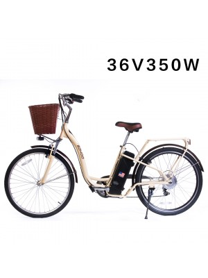 "SOHOO 36V350W10AH 26"" Electric Bicycle (Color: Cream)"