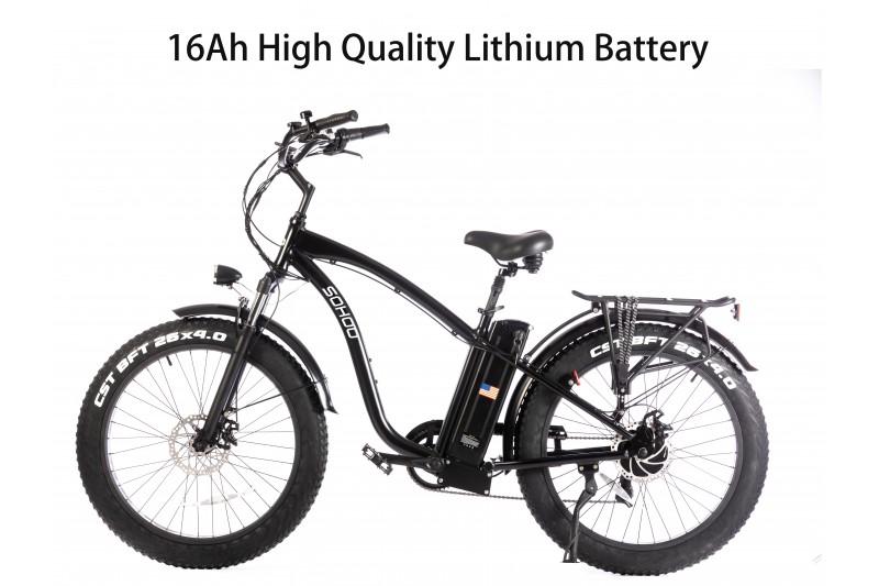 "48V750W16Ah 26""x4.0 Fat Tire Beach Cruiser Electric Bicycle"