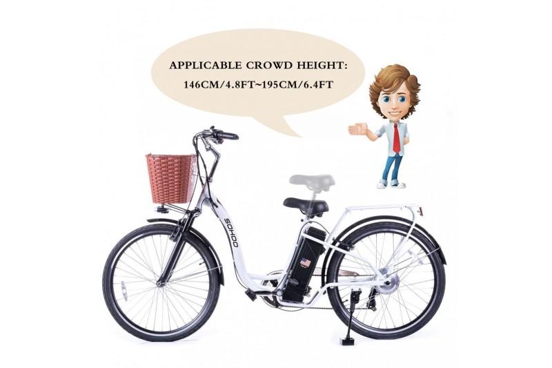 "SOHOO 36V350W10AH 26"" Electric Bicycle (WHITE)"